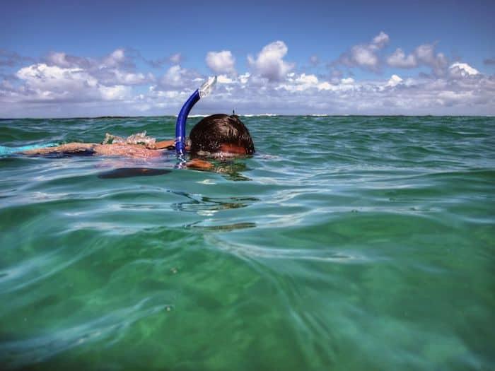 Snorkeling a Tunnels Beach, Kauai